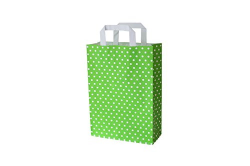 Papiertragetaschen mit Flachhenkel Punkte GRÜN (18 + 8 x 22 cm, 10 Stück)