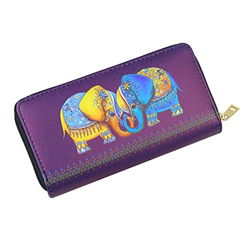 HaBirsZm Monedas con Cremallera de Elefante Lady Coin Purse Moneybags ID Tarjetas de identificación Titular Mujer Largo Clutch Wallet Bolsos Monederos Bolsos Bolsillo Bolsillo
