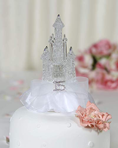 Rhinestone Quinceanera Cinderella Castle Cake Topper