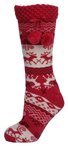 RJM Damen Fleece gefüttert Rentier Fairisle-Streifen Slipper Socken mit Handgriff Gr. Small, rose
