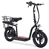 350w Electric Bike 48v Scooter with Seat,MAX Speeds of 18 MPH for Commuter,Black