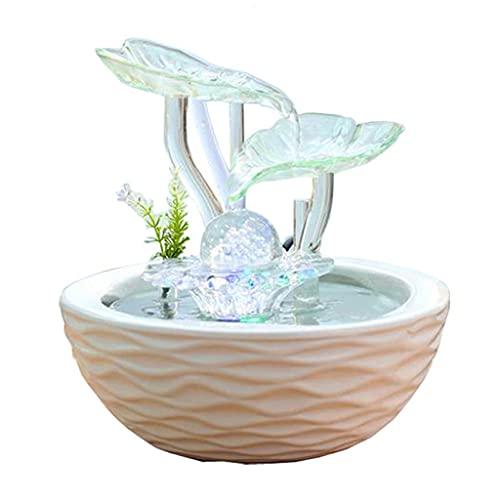 MKVRS Ornamenti Fontana fluenti di Fontana, Ornamento di Cristallo del Soggiorno, Ornamento di Cristallo, Rolling Ball di trasferimento Design in Ceramica Handicraft Humidificatore (Color : A)