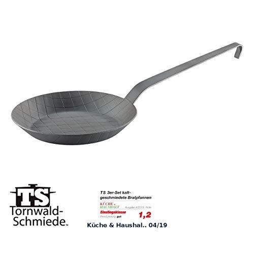 Tornwald-Schmiede Pfanne: Kaltgeschmiedete Bratpfanne mit Rauten-Prägung, Ø 20 cm, 2,9 cm hoch (Kaltgeschmiedete Eisenpfanne)