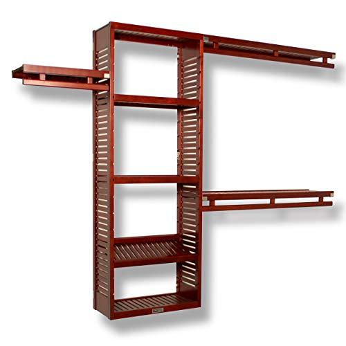 John Louis Home JLH-530 12in Deep Simplicity Closet Organizer Red Mahogany Finish 12 inch