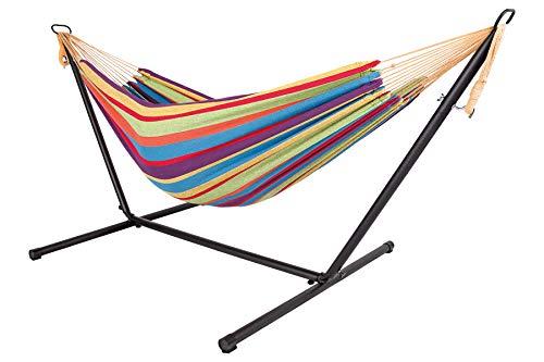 Livinxs Doppel Hängematte mit Stahlgestell   Platz für Zwei Personen   Perfekt für Garten, Balkon oder Terrasse   Hohe Belastbarkeit (Rainbow)