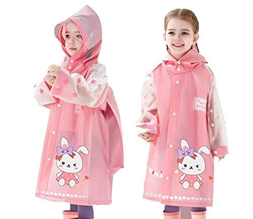 PINKPEGASUS Girls' raincoat, children's raincoat, boys' raincoat, students' raincoat, 2-12-year-old children's raincoat, baby raincoat L pink