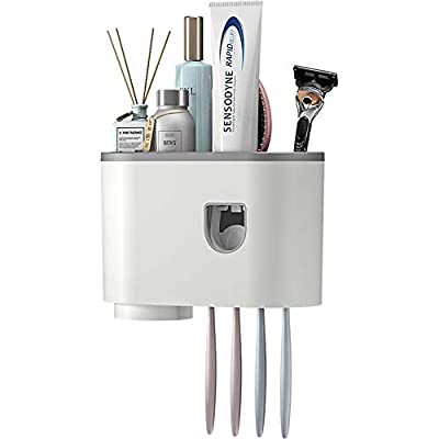 Wekity Wall-Mounted Toothbrush Holder, Multifunctional Automatic Toothpaste Dispenser Space Saving Family Toothbrush Organizer with Cups and Drawers Cosmetic Organizer (1 Cup)