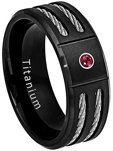 Black IP Mens Titanium Wedding Band Double Cable Accent - 0.07ct Ruby Solitaire Band - July Birthstone Ring-14