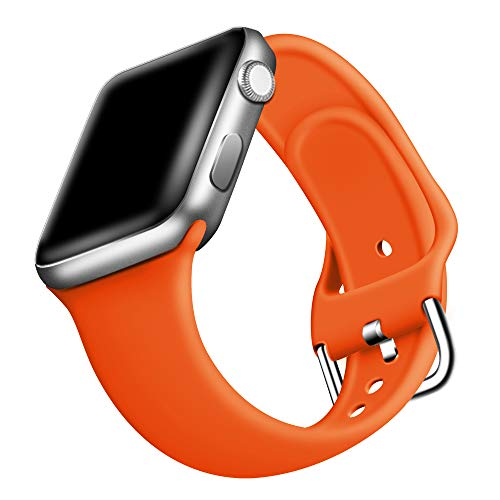 ONMROAD Orange Sport Band Compatible with Apple Watch Band 44mm Series 6 Series SE Series 5 Series 4, Smooth & Soft Replacement Strap for 42mm iWatch Series 3/2/1
