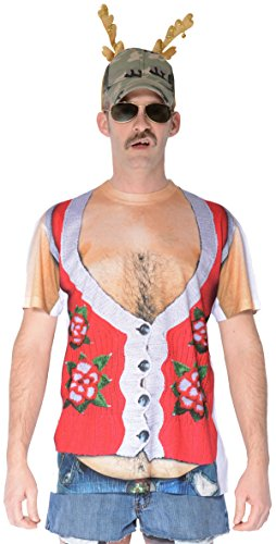 Faux Real Men's 3D Photo-Realistic Ugly Christmas Sweater Long Sleeve T-Shirt, Hairy Belly, X-Large
