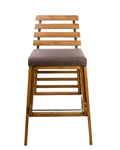 Destiny 30 inch Wood Bar Stool Chair - Gray Fabric
