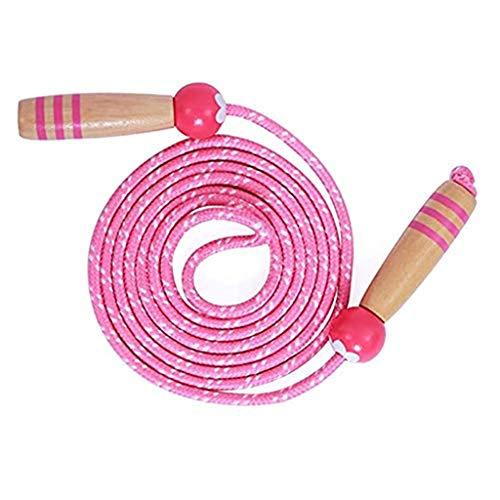 JWDYA Cuerda de Saltar Cuerda de Saltar Ajustable Cuerda de Saltar de Juguete para niños Cuerdas de Saltar con Mango de Madera 2.6M Regalo de cumpleaños de Navidad Rosa