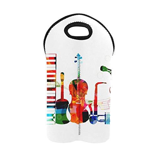Bolsa de picnic colorida Love Music Instrumento Vino Bolsa de regalo Portabotellas doble Bolsas de vino Soporte de botella de vino de neopreno grueso Mantiene las botellas protegidas
