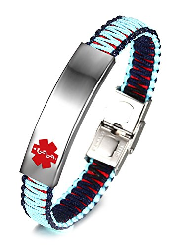 JF.JEWELRY Medical Alert ID Bracelets for Kids with Nylon Rope Braid Wrap Link,Blue & Black-5.5 inch