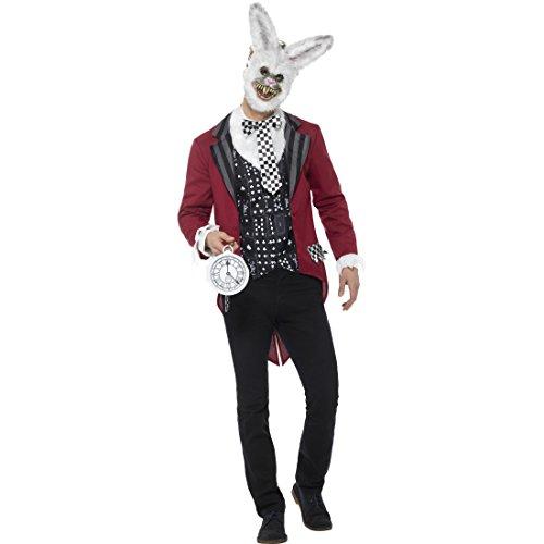 Amakando Weißer Hase Männerkostüm - XL (56/58) - Hasenkostüm White Rabbit Horror Hase Karnevalskostüm Benny Bunny Verkleidung Alice im Wunderland Weißes Kaninchen Kostüm