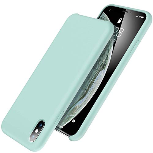 UGT iPhone Xs Max Case, Liquid Silicone Rubber Slim Shockproof Case Microfiber Cloth Lining Compatible with Apple iPhone Xs Max 6.5 inch, Mint