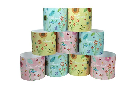 Blumentopf - Manschetten - Set Potteryshirt Übertopf Papier(Blumenwiese)