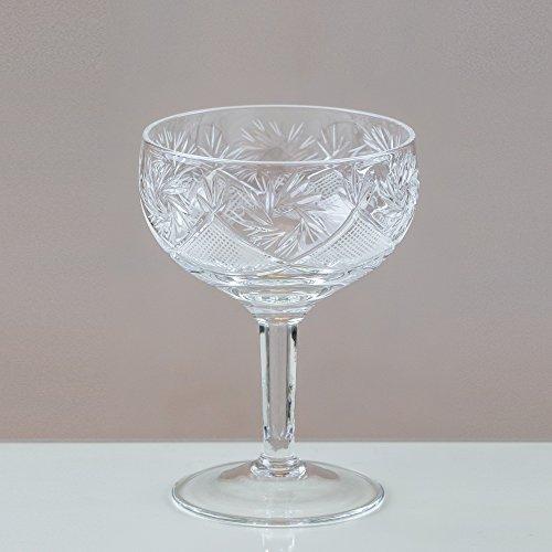 Victoria Coupes à Champagne thistledown cristal/Soucoupes en cristal 24% plomb Coupe 100% fait main (Lot de 6)