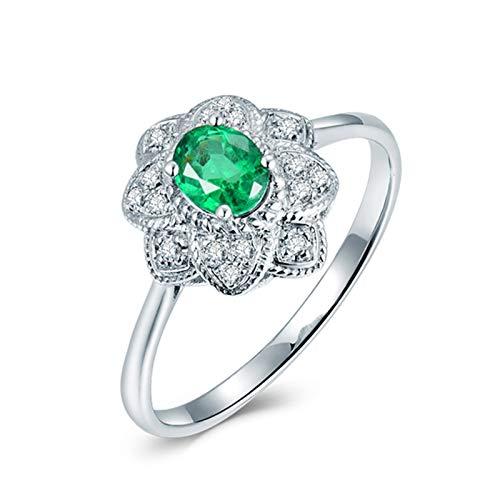 AnazoZ Anillo de Mujer con Esmeralda,Anillos de Oro Blanco Mujer 18 K Plata Verde Oval Esmeralda Verde 0.3ct Diamante 0.08ct Talla 9,5