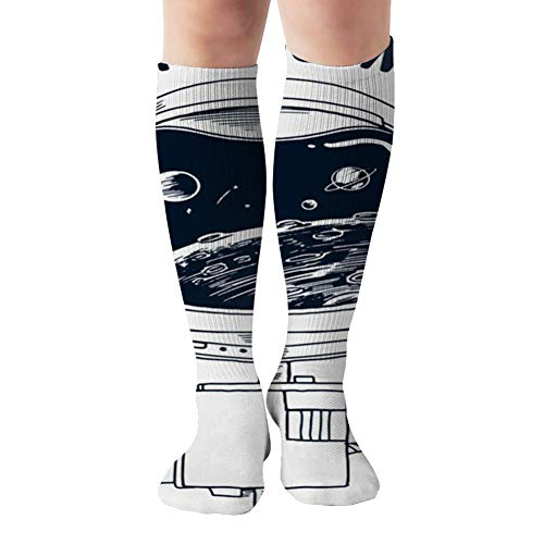 Astronaut Space Tshirt Prints The Arts Beauty Fashion Compression Socks For Women&Men - Best Medical For Running Athletic Flight Travel Circulation Recovery,19.68 Inch