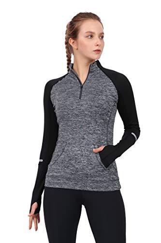 Westkun Camiseta de Manga Larga para Mujer Sudadera de Half Zip Deporte Chaqueta Yoga Casual Corriendo Pull-Over Tops con Agujeros para los Pulgares(Gris,XL)