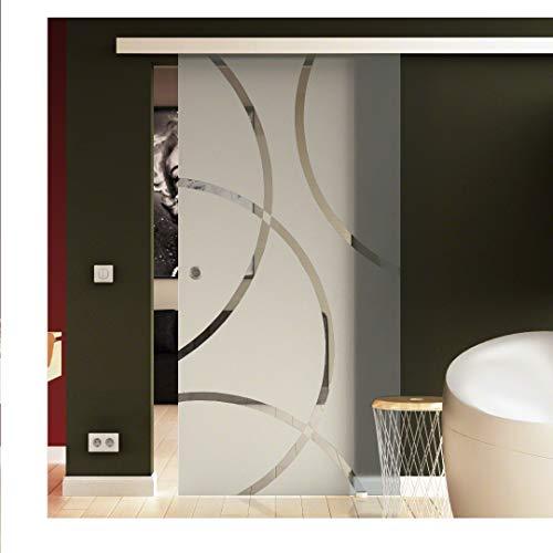 Glasschiebetür 77,5x205 cm in ESG-Milchglas mit Circle-Dessin (C) Levidor® EasySlide-System komplet. Laufschiene und Muschelgriffen, Schiebetür aus Glas für Innenbereich