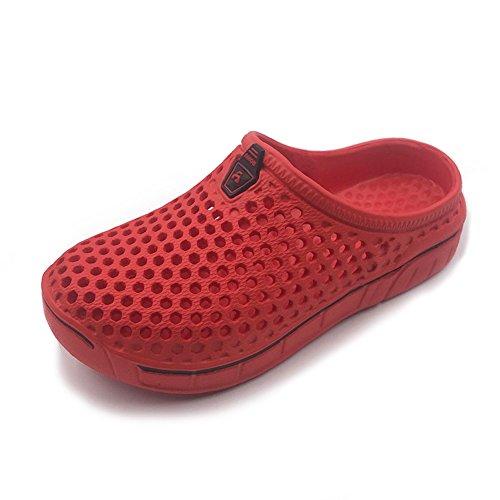 Amoji Garden Clogs Shoes Sandals House Slippers Home Room Shoes Indoor Outdoor Shower Shoe Sport Kids Child Children Baby Boys Girls (Toddler/Little Kid/Big Kid) Red 4-5 M US Big Kid