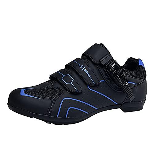 FNKDOR Gestreift Fahrradschuhe Herren Damen Rennrad MTB Atmungsaktiv rutschfest Sneaker mit Klettverschluss und Verstellbare Schnalle Blau 43