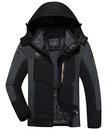 KEFITEVD Veste de randonnée pour homme avec capuche amovible pour homme, Homme, KEF-164-EU-Black and Grey-M, noir/gris, s