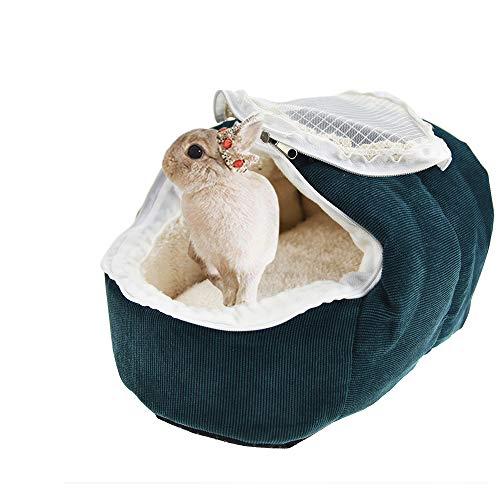 FLAdorepet Konijn Guinea Varken Bed House met Gordijn, Kleine Dier Egel Hideout Zachte Pluche Hamster Knuffel Bed voor Pasgeboren Katten Kittens Mini Honden Bed, S, Groen