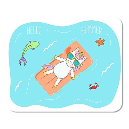 Nettes Einhorn in der Sonnenbrille, die das Meer auf aufblasbarer Luftmatratze mit Fisch Home School Game Player Computer Worker MouseMat Mouse Padch schwimmt