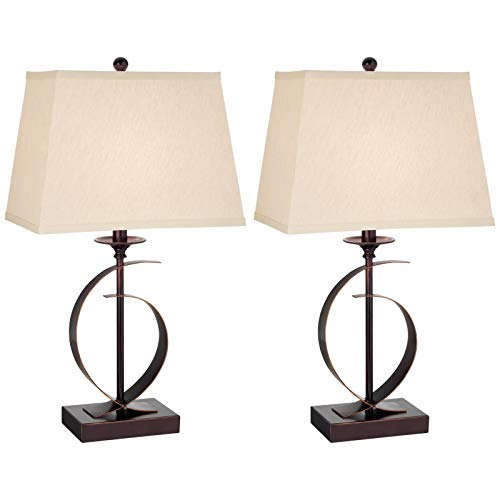Kathy Ireland Novo Table Lamps | Set of 2 Metal Crescent Dark Bronze Table Lamps (87-6180-22)