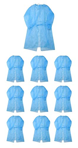 Leo Disposal Protective Isolation Gown - 10pcs Blue. Latex Free,Non-Woven, Fluid Resistant,ONE Size FITS All (10 Pcs)