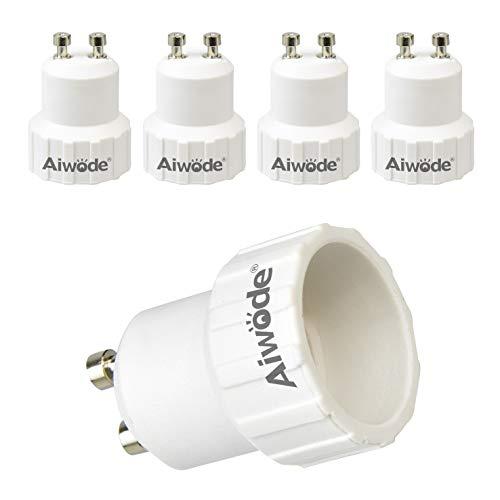 Aiwode GU10 auf E14 Sockel Konverter,Lampen Sockel Adapter Konverter für LED,Glüh und CFL Lampen,Maximale Leistung 200W,0~250V,120 Grad Hitzebeständig,5er-Pack.