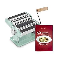 Ręczna maszyna do makaronu Nonna, stal nierdzewna, makaronik z książeczką przepis, suszarka do makaronu & 3 patelnie do krojenia spaghetti, lasagne, tagliatelle – mięta