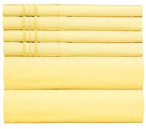 CGK Unlimited Extra DEEP Pocket Sheets - Super DEEP Pocket Bed Sheet Set - Deep Fitted Flat Sheet - California King Size Yellow - Cal King