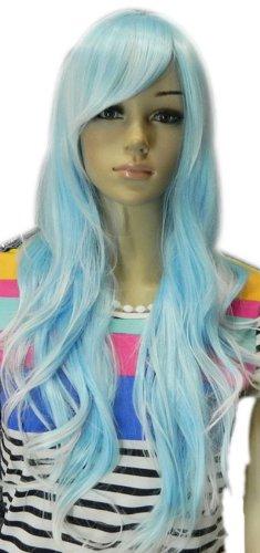 Qiyun Femme's Resistant a la Chaleur Bleu Argent Blanc Mixte Stylish Complete Cosplay Anime Costume Perruque