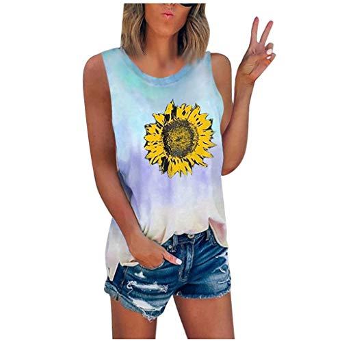 Women's Summer Sunflower Tank Tops Tie-Dye Sleeveless Crew Neck Vest T-Shirt Casual Tee Shirt Blouse Plus Size S-5XL Sky Blue