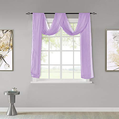 KEQIAOSUOCAI Light Purple Sheer Window Scarf Curtains Valance 144 Inches Long Sheer Fabric for Draping Curtain Toppers for Wedding Party Girls Room Bed Canopy Scarves 52Wx144L Light Purple