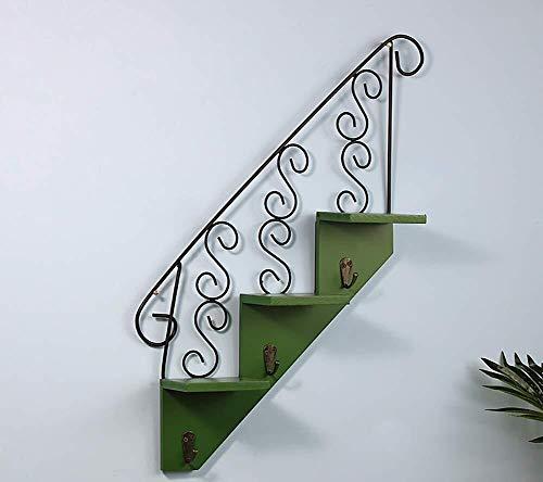 Yxsd Bloemenstandaard van smeedijzer, drietraps bloementrap, planken voor wandmontage, woonkamer met scheidingswanden, voor binnen en buiten