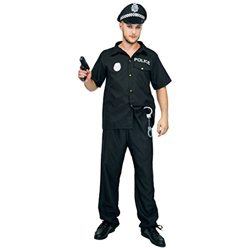 flatwhite Adult Man's Police Costumes Black