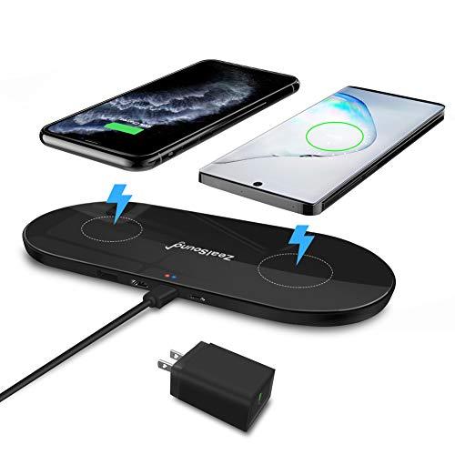 zealsound Qi Triple Wireless Charger, 3-Geräte Multi Wireless Charger Pad, 10W Wireless Ladestation für iPhone11/11 Pro/11 Pro Max, Galaxy Note 10/Note 10 Plus/S10 Plus/S10E & Alle Qi-fähigen Handys