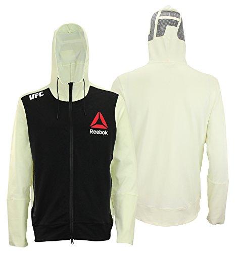 Reebok UFC Mens Full Zip Walkout Hoodie (Black Front/Off-White Back, Medium)