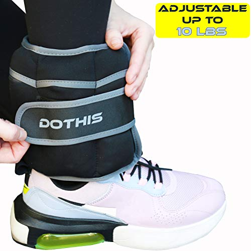 Ankle Weight - Adjustable Ankle Weights for Women, Men, Kids, Wrist Arm Leg Weight Straps 10 LBS (5 LBS Each) for Exercises, Fitness, Walking, Workout, Running, Jogging, Aerobics, Physical Therapy