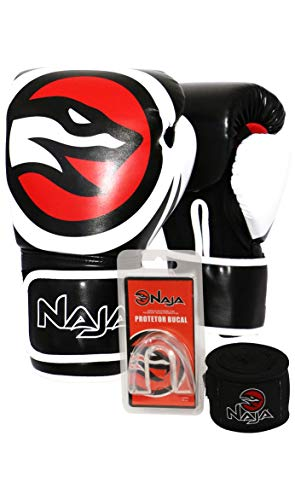 Kit Luva Muay Thai Boxe Naja New Extreme Preto e Vermelho + Band + Bucal