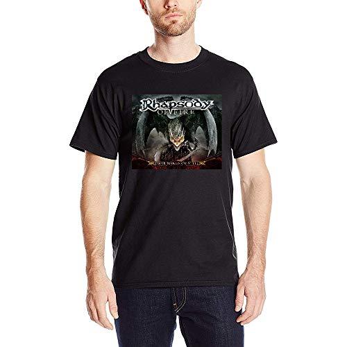 Aidyasd Mens/Hombre Rhapsody of Fire Dark Wings of Steel Short Slevee T-Shirts Camiseta Medium