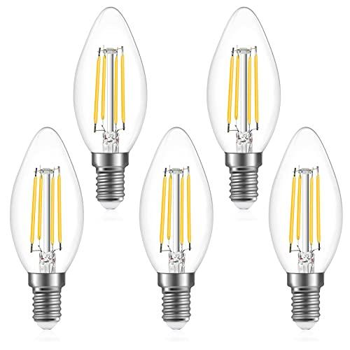 Bonlux Lampadina Filamento LED E14 Lampadine LED Candela C35 4W Equivalenti a 40W, C35 Stile Vintage, Non Dimmerabile, Luce Bianca Freddo 6000K 470Lm Confezione da 5 Pezzi