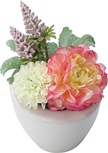 ポピー(Popy) 造花 仏壇用ミニラナンポット ホワイトピンク 全長13cm・幅9.5cm FP-0845W/P