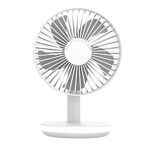 BOINN Ventilador de Enfriamiento de Aire de Escritorio PortáTil con Luz LED Mesa Recargable USB Ventilador de Enfriamiento de Aire para Oficina Casa - Blanco