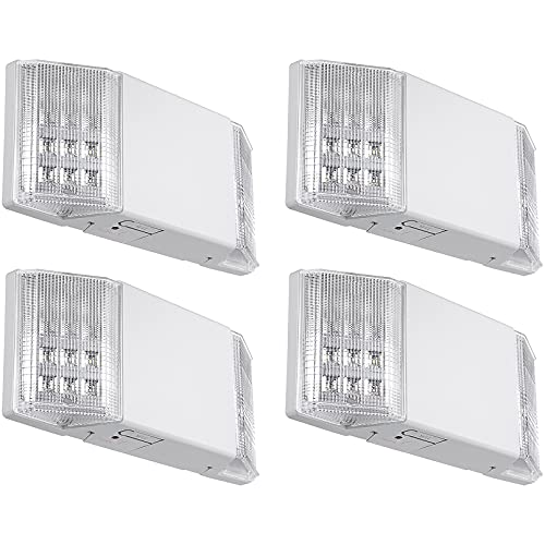 TORCHSTAR LED Emergency Light, Commercial Emergency Lights with Battery Backup, UL Listed, Two Square Heads, AC 120/277V, Hardwired Emergency Exit Lighting Fixture for Business, Pack of 4